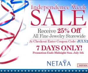4th of July Sale: 25% Off All Fine Jewelry Storewide with Coupon Code